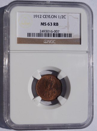 1912 Ceylon 1/2 Cent World Coin - Sri Lanka - NGC MS63 RB