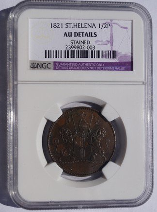 1821 Saint Helena & Ascension 1/2 Penny World Coin - NGC AU Details