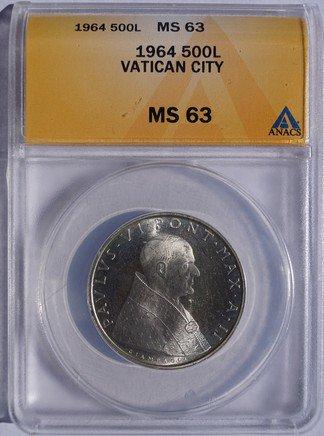 1964 Vatican City 500 Lire World Silver Coin - Catholic Church Italy ANACS MS63