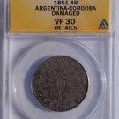1851 Argentina Cordoba 4 Real World Silver Coin ANACS VF30 Details