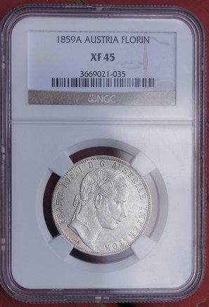 1859-A Austrian 1 Florin World Silver Coin - Austria - NGC XF45 Certified