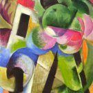 House with trees by Franz Marc - Canvas Art Print