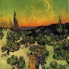 Landscape with Couple Walking and Crescent Moon - 24x18 IN Poster