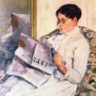 When reading of Figaro by Cassatt - A3 Poster