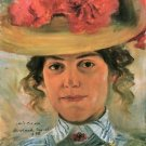 Women's Half-portrait with straw hat by Lovis Corinth - A3 Poster
