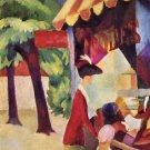 Woman with red jacket and child by August Macke - A3 Poster