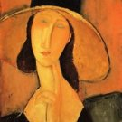 Modigliani - Portrait of a woman with hat - 24x18 IN Canvas