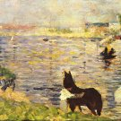 White and black horse in the river by Seurat - A3 Poster