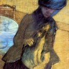 Mary Cassatt with her dog by Degas - A3 Poster