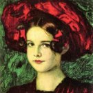 Mary with red hat by Franz von Stuck - 24x18 IN Canvas