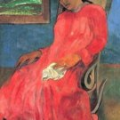 Woman in Red Dress by Gauguin - Poster Print (24 X 18 Inch)