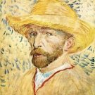 Self-Portait with straw hat by Van Gogh - 24x18 IN Canvas