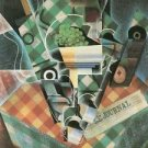 Still Life with checked tablecloth by Juan Gris - 24x18 IN Canvas