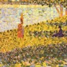 Women on the shore by Seurat - 24x18 IN Canvas