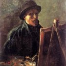 Self-Portrait with Dark Felt Hat at the Easel - Poster (24x32IN)