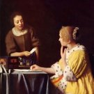 Mistress and maid by Vermeer - 24x18 IN Canvas