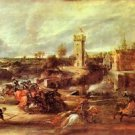 Tournament at a castle by Rubens - 24x18 IN Canvas