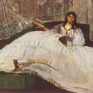Lady with fan by Manet - 24x32 IN Canvas