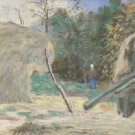 Landscape with Tresher at Montfoucault, 1875 - 24x32 IN Canvas
