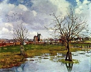 Landscape with Flooded Fields, 1873 - 24x32 IN Canvas