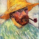Self-Portait with straw hat [2] by Van Gogh - 24x18 IN Canvas