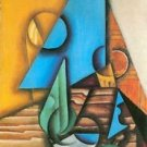 Bottle and glass on a table by Juan Gris - A3 Paper Print