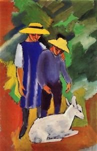 Children with goat by August Macke - A3 Poster