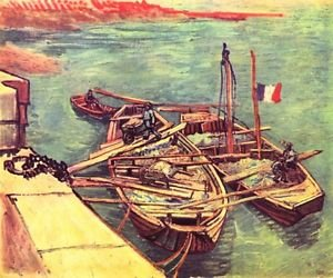 Boats with sand by Van Gogh - 24x18 IN Poster