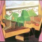 Open windows with hills by Juan Gris - 24x18 IN Poster