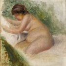 Gabrielle Nude, Sitting on a Bed - 24x32 IN Canvas