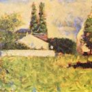 A house between trees by Seurat - A3 Paper Print