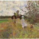 Promenade a Argenteuil 1875 by Monet - 24x18 IN Canvas