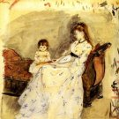 1872 Madame  Pontillon and her daughter on a settee - A3 Poster