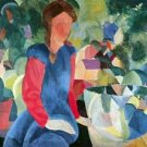 Girls with fish bell by Macke - 24x18 IN Canvas