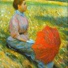 Lady in a Meadow by Zancomeneghi - Poster Print (24 X 18 Inch)