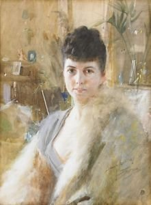 Anders Zorn - Lady with fur cape 1887 - A3 Poster