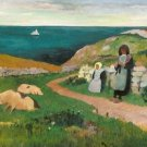 Young Breton Girls in the Field, 1890-91 - A3 Poster