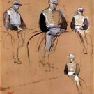 Study with four jockeys by Degas - 24x32 IN Canvas