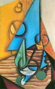 Bottle and glass on a table by Juan Gris - 24x18 IN Poster