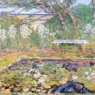 A garden on Long Island by Hassam - 24x18 IN Canvas