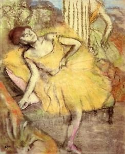 Sitting dancer with the right leg up by Degas - A3 Paper Print