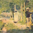 A man removes his boat by Seurat - Poster (24x32IN)