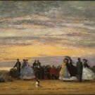 The Beach at Villerville, 1864 (Vers.1) - 24x32 IN Canvas