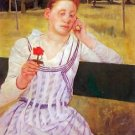 Woman with red Zinnia by Cassatt - Poster Print (24 X 18 Inch)