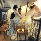 The gallery of the H.M.S. Calcutta by Tissot - 24x18 IN Canvas