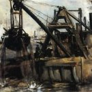 Dredging in the East River, 1880 - A3 Poster