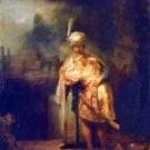 Davids farewell with Jonathan by Rembrandt - A3 Poster