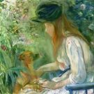Girl with Dog - 1892 - 24x32 IN Canvas