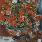 Geraniums and Cats, 1881 - 30x40 IN Canvas
