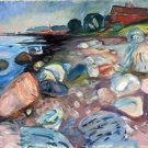 Munch - Shore with Red House - A3 Paper Print